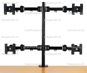 "Quad LCD Monitor Stand Desktop Clamp up to 27"" (002-0011)"