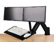 EZM Dual Monitor and Keyboard Stand/Wall Mount Black (002-0039)