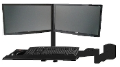 EZM Dual Monitor and Keyboard Wall Mount Black (002-0040)