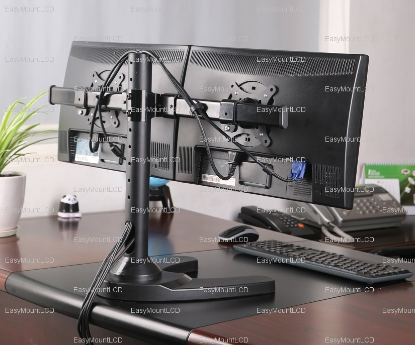 Dual Monitor Sit Stand Desktop Workstation Black Erirect Edw 4202d Inused Image Vivo