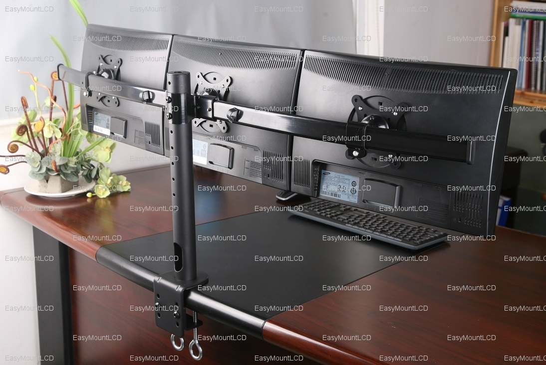 ezm deluxe triple monitor mount stand desktop clamp 7 11 rh 7 11 sayedbrothers nl Triple